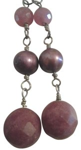 Vintage Handmade Solid Sterling Silver Berry Pink Gemstone Pearl Earrings w New Ear Wires