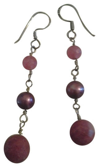 Other Vtg Handmade Solid Sterling Silver Berry Pink Gemstone Pearl Earrings