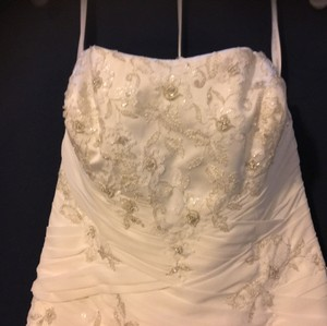 David's Bridal Ivory Soft Chiffon Overlay - Strapless - Never Worn Formal Wedding Dress Size 12 (L)