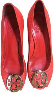 Tory Burch Summer Bright Coral Red Wedges