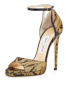 Jimmy Choo Made In Italy Luxury Designer Holiday Parties Sparkle Metallic Fabric Gold/Black Pumps