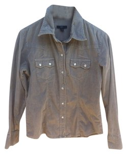Gap Snap-front Western Corduroy Long-sleeved Pearl Snaps Button Down Shirt Beige