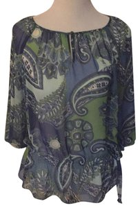 Ann Taylor Dryclean Only Top Green/blue print