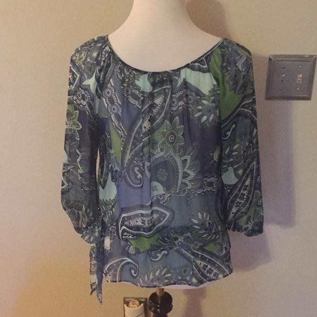 Ann Taylor Dryclean Only Top Green/blue print Image 1