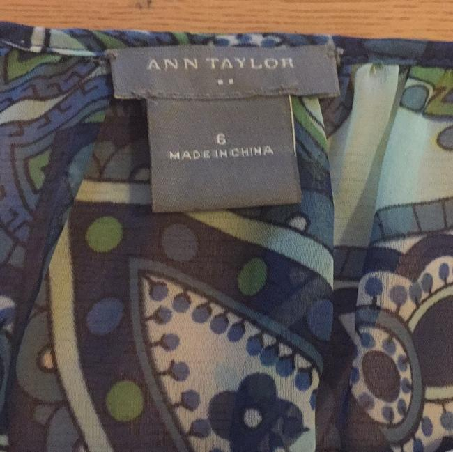 Ann Taylor Dryclean Only Top Green/blue print Image 3