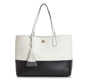 Tory Burch Perry Color White Tote in New Ivory Black