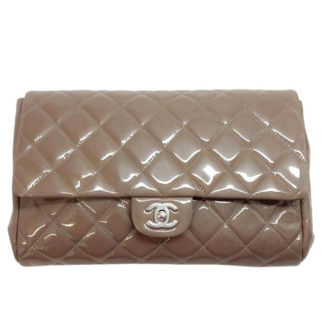 Item - Classic Flap Clutch (Taupe) with Chain Handbag Gray Patent Leather Shoulder Bag