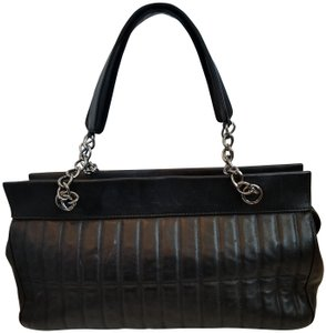 Chanel Lambskin Quilted Leather Satchel in Black with silver hardware