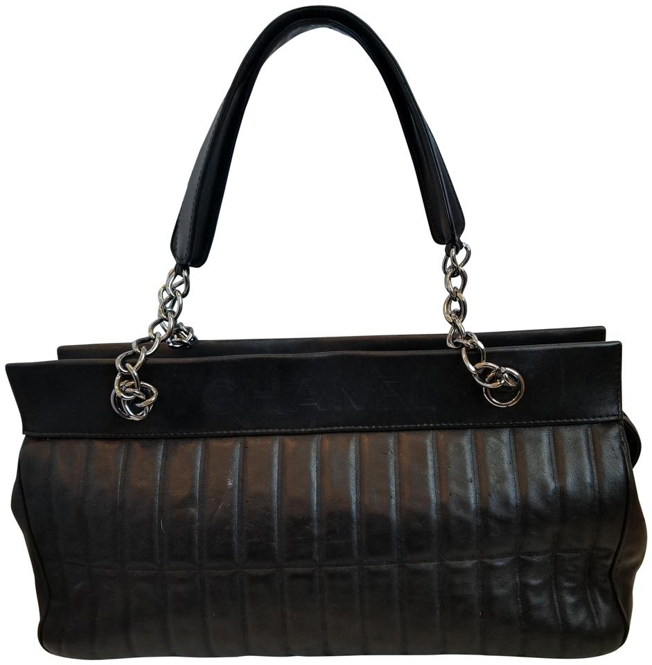 26dfec8129cb Chanel Lambskin Quilted Leather Satchel in Black with silver hardware ...