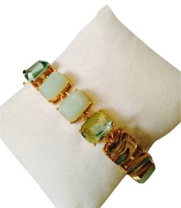 Robert Lee Morris NWOT Green Chalcedony, Crystal Over MOP Gold-Tone Bracelet Only! Matching Earrings Sold Seperately.