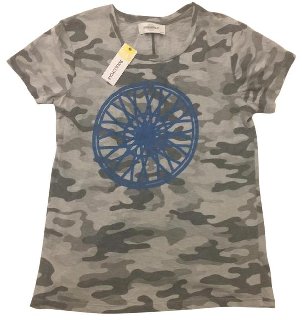 Item - Never Worn with Tags) Light Gray Camo with Blue Soul Lettering and Wheel Activewear Top Size 4 (S)