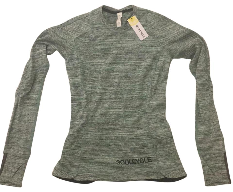 SoulCycle Never Worn with Tags) Green Black White Gray Thin Stripes W  Lululemon Runderful Ls W/ Activewear Top Size 4 (S)