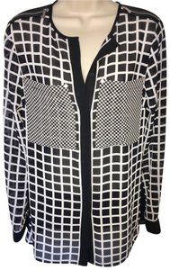 MICHAEL Michael Kors Zipper Graphic Blouse Top Black and White