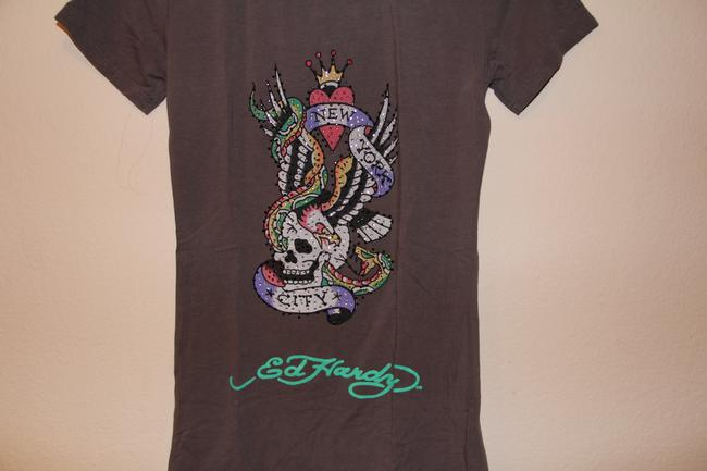 Ed Hardy Skull Long Cut T Shirt Grey