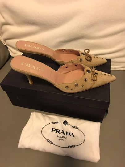 Prada Studded Grommets Bow Beige Suede Mules