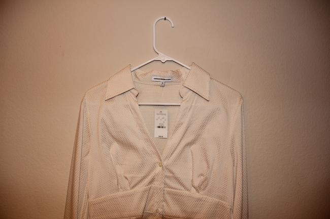 Express Button Up Long Sleeve Womens Shirt Button Down Shirt Off White