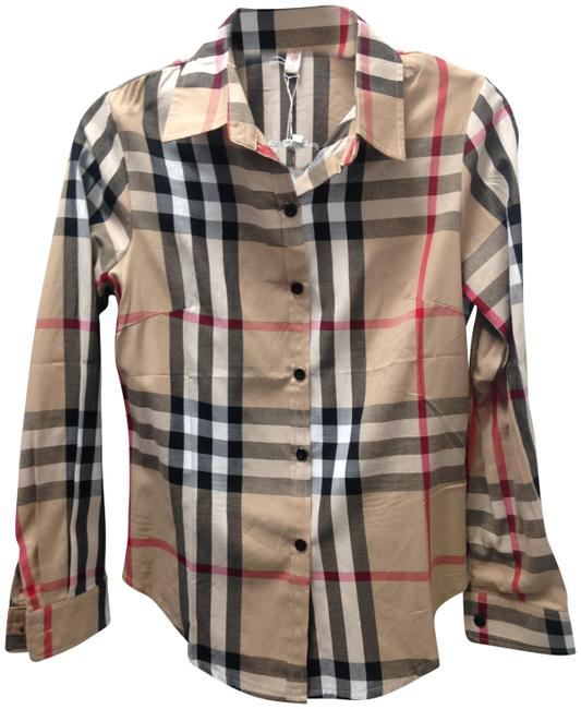 Preload https://img-static.tradesy.com/item/22505655/plaid-designer-inspired-long-sleeves-beige-white-shirt-xs-button-down-top-size-2-xs-0-2-650-650.jpg