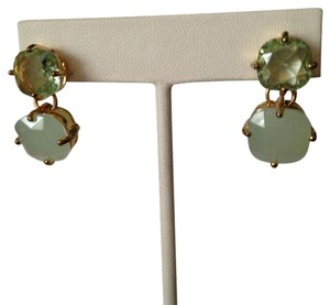 Robert Lee Morris NWOT Green Chalcedony & Crystal Gold-Tone Earrings