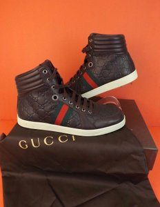 "Gucci Brown Leather ""Gg""Guccissima Web Hi Top Sneakers 8 9 #221825 Shoes"