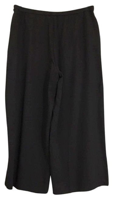 Eileen Fisher Tencel Billowy Legs Easy Pull On High Rise Front Slant Pockets Wide Leg Pants Black