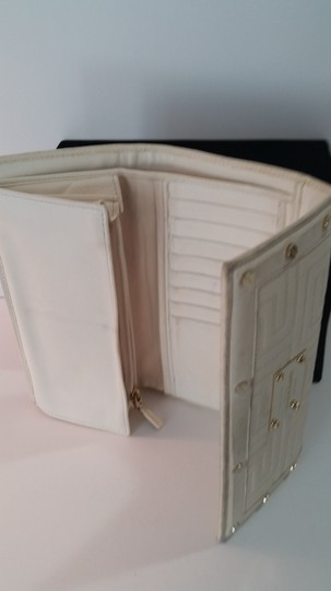 Versace Versace white leather wallet with gold tone hardware