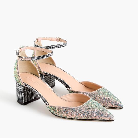 J.Crew Geniune Leather Tweed Silver Pumps