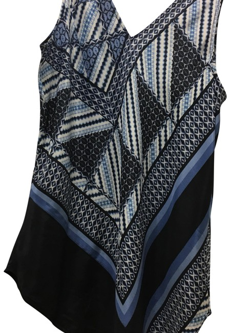 NIC+ZOE Nic Zoe Zoe Sleeveless Silk Top blue, black and white