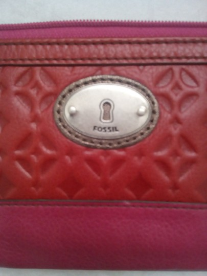 Fossil Shoulder Crossbody Hobo Purse Wallet Red Pink Clutch
