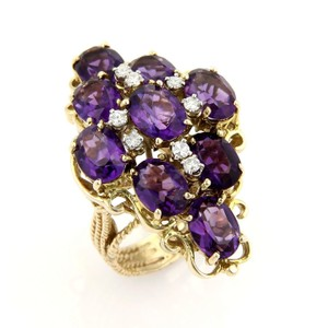 Other Large Amethys & Diamonds 14k Gold Floral Cluster Ring