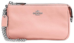 Coach NWT Coach Large Wristlet/Pouch Blush Pebble Leather,Silver Chain
