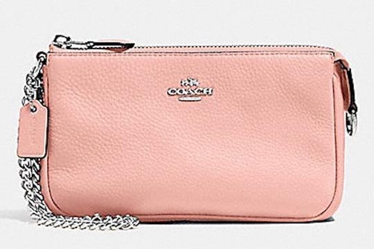 Coach NWT Coach Large Wristlet 19-in Blush Pebble Leather- Silver Chain