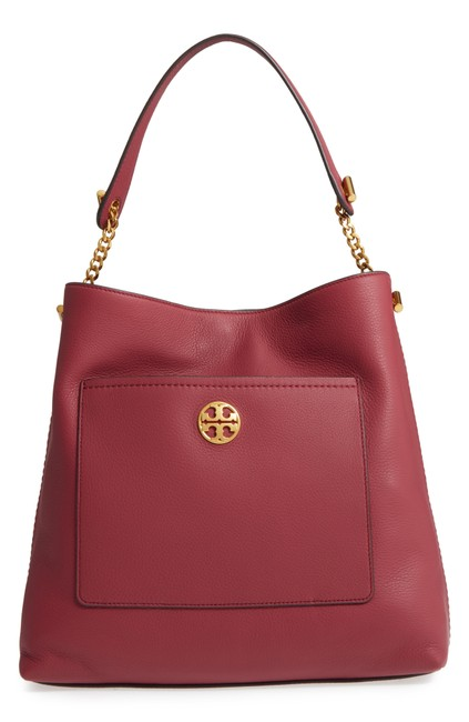 Tory Burch Imperial Garnet Red Leather Hobo Bag Tory Burch Imperial Garnet Red Leather Hobo Bag Image 1