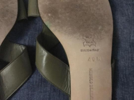 Manolo Blahnik Slides Kitten Heel Khaki Green Sandals