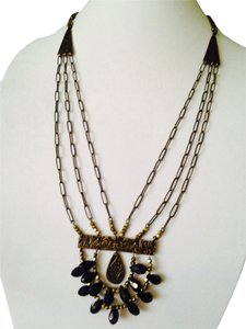 Mythologie NWOT Bi-Color Faceted Briolettes In Antiqued Metal & Cord Necklace