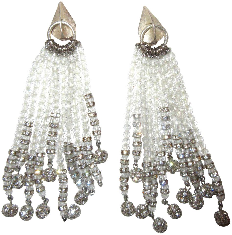 White and silver jessye norman estate crystal tassel clip opera unbranded jessye norman estate crystal tassel clip earrings opera chandelier aloadofball Image collections