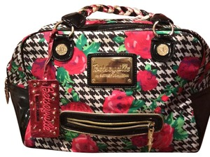 Betseyville by Betsey Johnson Satchel in Black, white, and pink