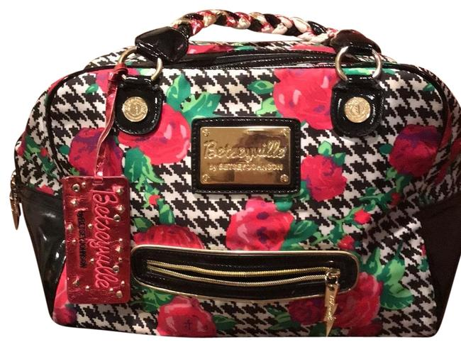 Item - Rose Herringbone Purse Black White and Pink Polyester Satchel