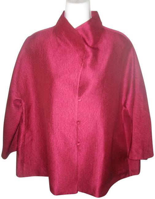 Item - Red Mandarin Collar 3/4 Sleeve Button Front Silk Cropped Jacket Size 12 (L)