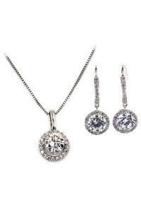 Ocean Fashion Shining bright crystal stones silver set