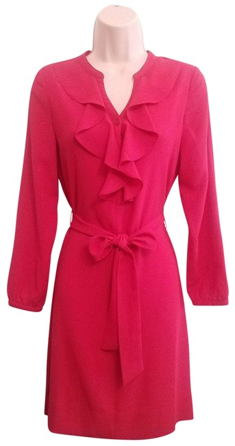 Preload https://item3.tradesy.com/images/talbots-hot-pink-ruffle-front-tie-waist-4p-mid-length-workoffice-dress-size-petite-4-s-22506797-0-1.jpg?width=400&height=650