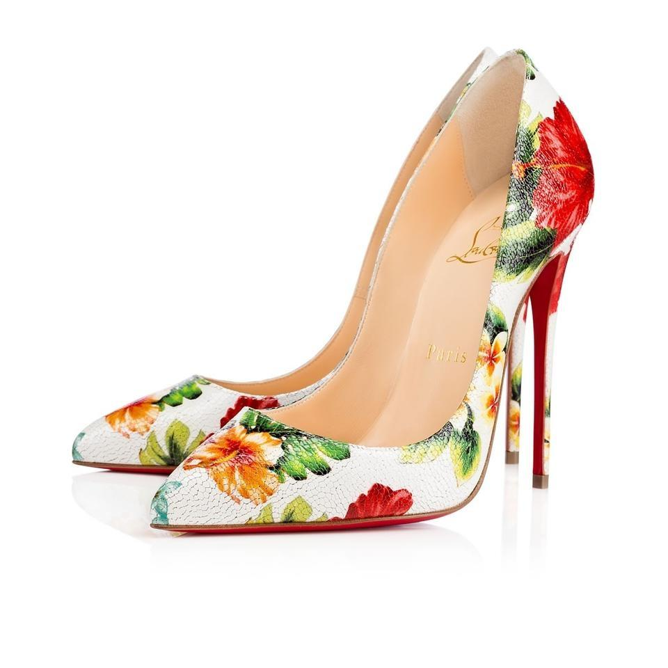 Christian Louboutin White So Kate 120 Hawaii Red Flower Heel Pumps