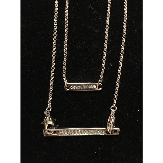 Eddie Borgo Silver Plated Safety Chain Extra Thin Crystal Bar Necklace