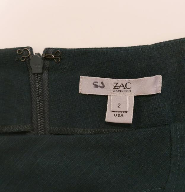 Zac Posen Pencil Fitted Stretchy Curved High Waist Skirt Green