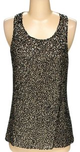 Alice + Olivia Evening Blouse Party Dress Beaded Top Brown gold Sequin