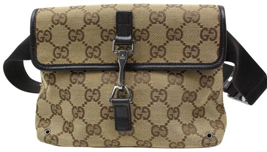 Gucci Monogram Pouch Waist Fanny Brown Travel Bag