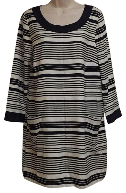 Preload https://item1.tradesy.com/images/jcrew-white-navy-blur-new-silk-34-sleeve-striped-pockets-mid-length-night-out-dress-size-12-l-22507000-0-1.jpg?width=400&height=650