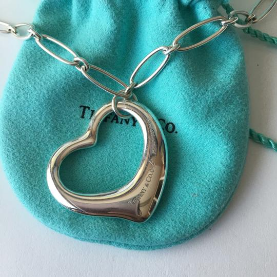 Tiffany & Co. Elsa Peretti Silver EXTRA LARGE Open Heart Oval Link Necklace