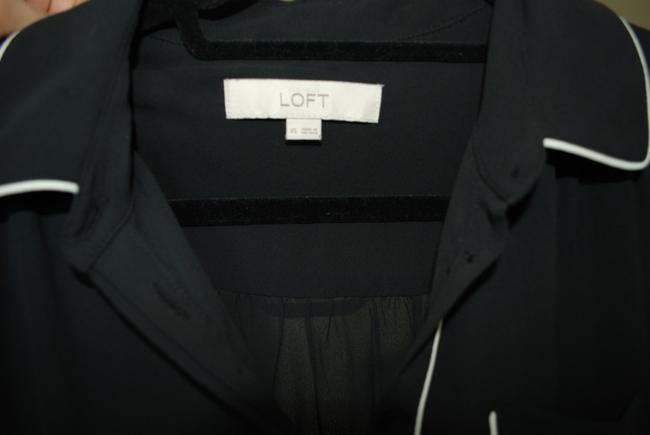 Ann Taylor LOFT And Button-up Top Black with White Piping