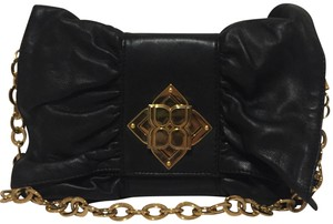 BCBGMAXAZRIA Vinta Leather Hardware Black/Gold Clutch