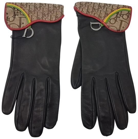 Dior Brown leather Christian Dior monogram print gloves
